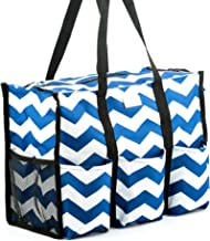 Pursetti Teacher Tote (Navy Chevron) with Pockets - Perfect Gift for Teacher's Appreciation and Birthday