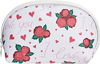 Amazon Brand - Solimo Cosmetic, Makeup & Toiletries Pouch (Hearts & Roses; White, Red)