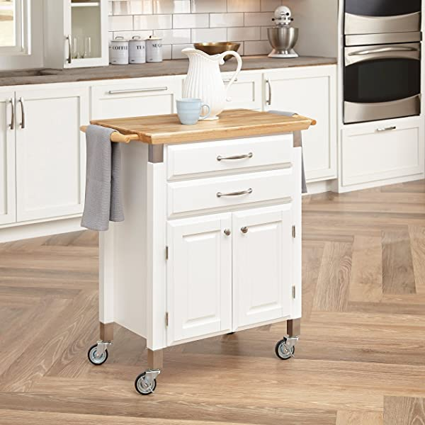 Dolly Madison White Prep Serve Cart By Home Styles