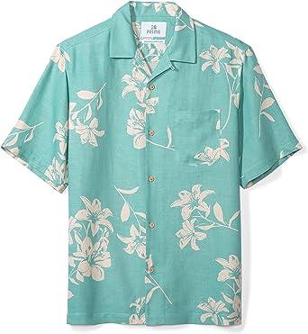 Marca Amazon - 28 Palms – Camisa de seda y lino de corte holgado para hombre, diseño tropical hawaiano