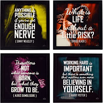 Indianara 4 Piece Set of Framed Wall Hanging Motivational Quote Harry Potter Sirius Black Ginny Weasley Albus Dumbledore Decor Art Prints (1191) 8.7 inch X 8.7 inch Without Glass