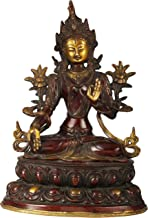Tibetan Buddhist Goddess White Tara - Brass Statue - Color Double Chola Color
