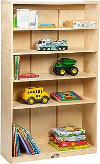 "ECR4Kids Birch Bookcase with Adjustable Shelves, Wood Book Shelf Organizer for Kids, 3 Shelf, Natural, 60"" H"