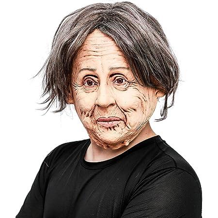 CreepyParty Fiesta de Disfraces de Halloween Realista Máscara de Látex de Cabeza Humana Reales Personas Anciana Realista para Carnaval