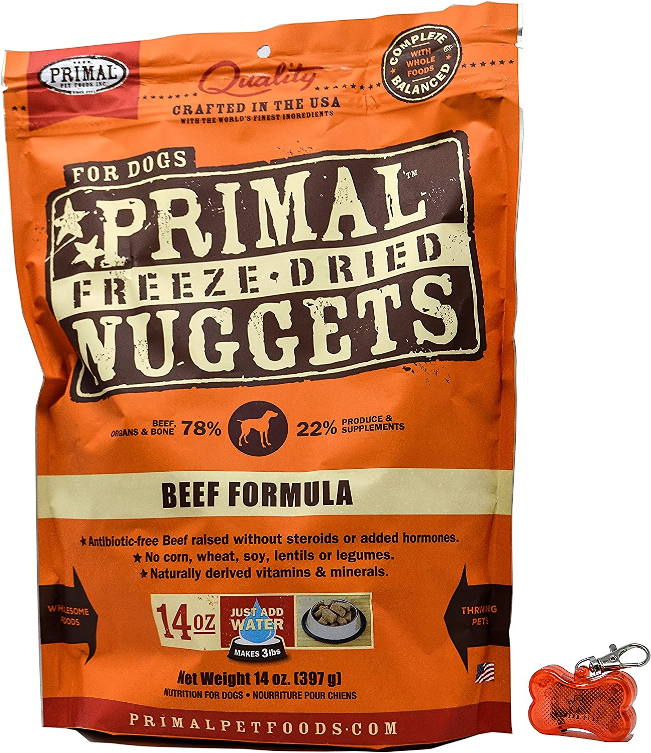 Primal Pet Food - Freeze Dried Beef Nuggets Dog Food 14oz Bag with WoWing Pets Pendant