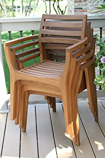 Wondrous Amazon Com Stackable Patio Dining Chairs Chairs Patio Interior Design Ideas Clesiryabchikinfo