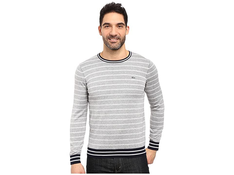 Lacoste Long Sleeve Double Face Chine Stripe Crew Neck Sweater (Silver Chine/Navy Blue/White) Men