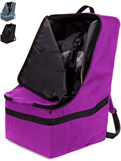 ZOHZO Car Seat Travel Bag — Adjustable, Padded Backpack for Car Seats — Car Seat Travel Tote (Purple With Black Trim)