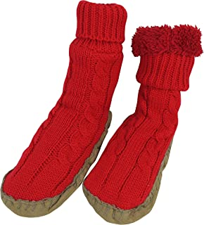 N'Ice Caps Girls Cable Knit Slipper Socks with Non-Skid Gripper Soles