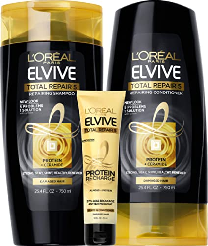 L'Oreal Paris Elvive TR5 Repairing Shampoo, Conditioner and Protein Recharge, for damaged hair, Shampoo and Condition...