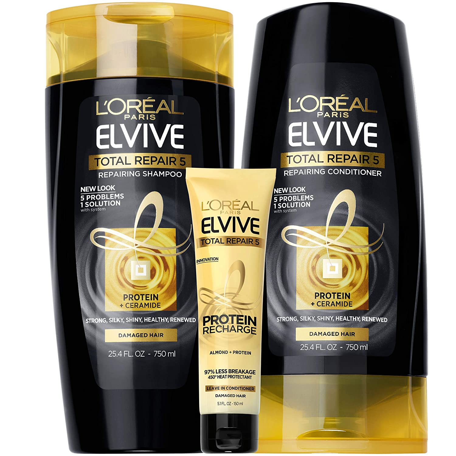 Amazon Com L Oreal Paris Elvive Tr5 Repairing Shampoo Conditioner And Protein Recharge Total Repair 5 1 Count Beauty