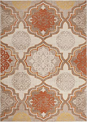 """Home Dynamix Tremont Willow Bohemian Area Rug, Ikat Taupe/Orange 5'3""""x7'2"""""""