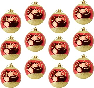 Juvale 12-Pack Christmas Tree Ornaments - Red and Gold Shatterproof Large Christmas Balls Decoration, Classic Holiday Design with Glitter, Hanging Plastic Bauble Decor, 2.7 Inches