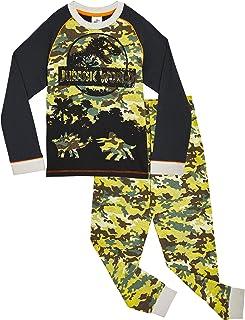 Jurassic World Pijama Niño, Pijama Dinosaurio Estampado Camuflaje, Pijamas de Dos Piezas Camiseta Manga Larga y Pantalones...