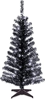 National Tree 4 Foot Black Tinsel Tree with Plastic Stand and 70 Clear Lights (TT33-304-40)
