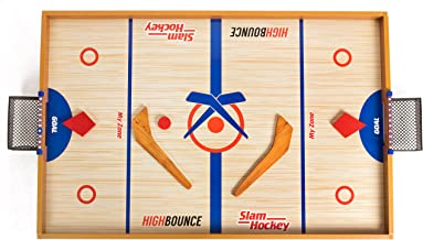 High Bounce Wooden Slam Hockey with Score Keeper and Nets & 3 Pucks
