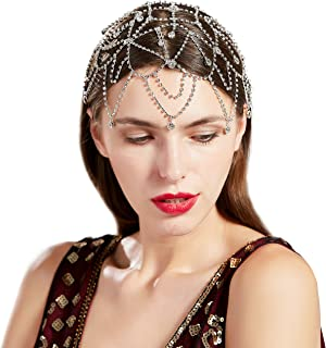 BABEYOND 1920s Crystal Cap Headpiece Rhinestone Head Chain Roaring 20s Great Gatsby Hair Accessories for Art Deco Party