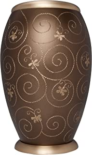 Liliane Memorials Brown and Gold Funeral Cremation Urn with Hand Engraved Butterflies; Arcade Bronze Model in Brass for Human Ashes; Suitable for Cemetery Burial; Fits Remains of Adults up to 200 lbs