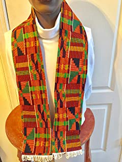 New! African Kente Cloth print Scarf Stole Green With WhiteTassels