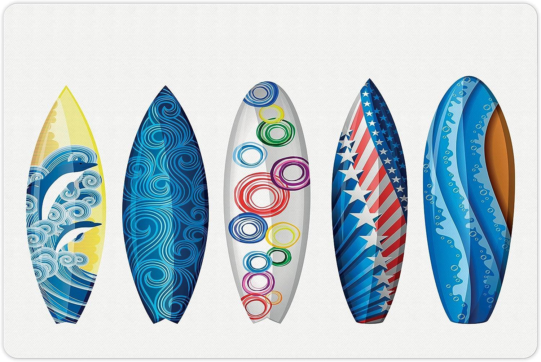 Lunarable Surfboard Super intense SALE Pet Ultra-Cheap Deals Mat for Water Surfboards and Ameri Food