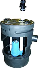 Barnes PitPro 25 by 24 inch Packaged Sewage Pump System – 1/2-HP, 4,300 GPH, For Residential & Commercial Use, Simplex Model 126922