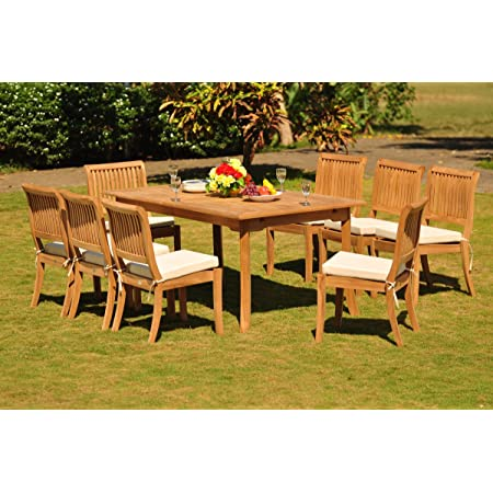 Amazon Com Wholesaleteak New 9 Pc Luxurious Grade A Teak Dining Set 94 Rectangle Table And 8 Stacking Arbor Arm Chairs Whdsabh Garden Outdoor