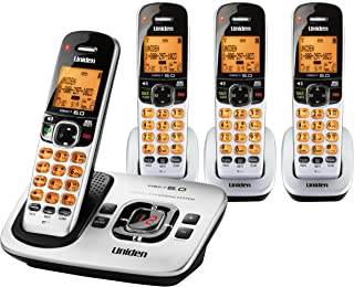 Uniden DECT 6.0 Expandable 4 Handset Cordless Phone with Digital Answering System - Silver (D1780-4)
