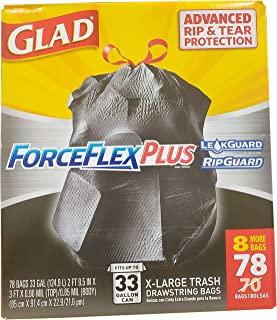 Glad Force Flex Drawstring Extra Large Black (33 Gallon / 78 Count), 78 Count