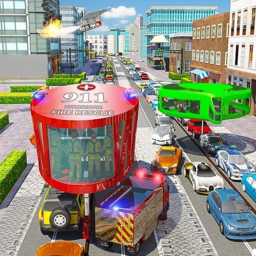 Fire Rescue Gyroscopic Bus Driving Games 2018: 911 City Ambulance Rescue Simulator