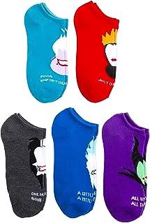 Disney Villians 5 pk Ladies and Juniors No Show Socks