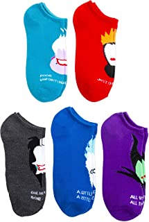 Disney Villians 5 pk Ladies and Juniors No Show Socks