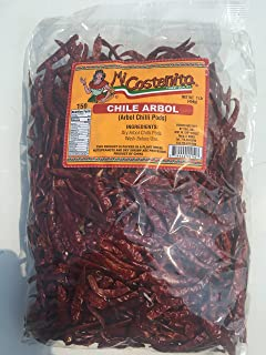 Whole Chile De Arbol, 16 Ounce - Mexican Whole Dried Arbol Chili Peppers