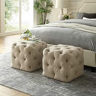 Inspired Home Beige Linen Ottoman - Design: Angel | Square Shaped | Modern | Allover Tufted Design | 1 PC