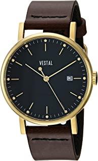 Vestal 'Sophisticate 36' Swiss Quartz Stainless Steel and Leather Dress Watch, Color:Brown (Model: SP36L02.DBBK)