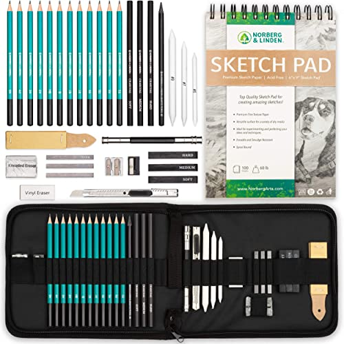 Norberg & Linden XL Drawing Set - Sketching, Graphite and Charcoal Pencils. Includes 100 Page Drawing Pad, Kneaded Er...