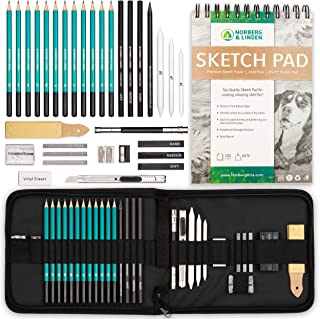 XL Drawing Set - Sketching, Graphite and Charcoal Pencils. Includes 100 Page Drawing Pad, Kneaded Eraser, Blending Stump. Art Kit and Supplies for Kids, Teens and Adults.
