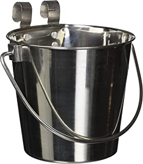 QT Dog Flat Sided Stainless Steel Bucket with Hooks, 2 Quart