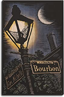Lantern Press New Orleans, Louisiana - Bourbon Street Lamppost - Scratchboard (10x15 Wood Wall Sign, Wall Decor Ready to Hang)