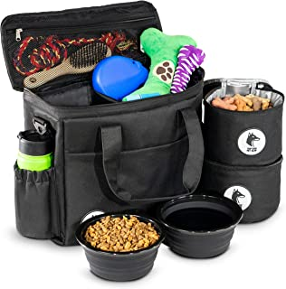 Top Dog Travel Bag - Airline Approved Travel Set for Dogs Stores All Your Dog Accessories - Includes Travel Bag, 2X Food Storage Containers and 2X Collapsible Dog Bowls - Black