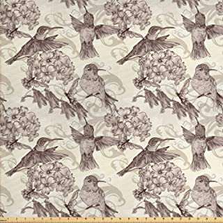Ambesonne Hummingbirds Fabric by The Yard, Birds and Flowers Monochromic Classical Design Nostalgia Ornate, Decorative Fabric for Upholstery and Home Accents, 2 Yards, Brown Beige