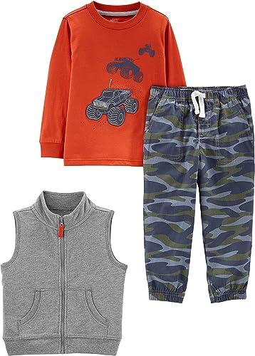 Pant Simple Joys by Carters 4-Piece Fleece Jacket and Bodysuit Set Beb/é-Ni/ñas