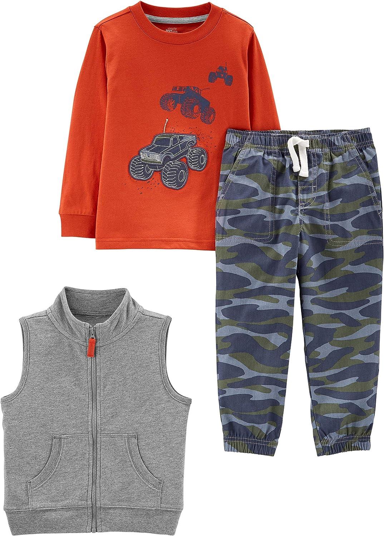 Simple Joys by Carter's Boys' Toddler 3-Piece Fleece Vest, Long-Sleeve...