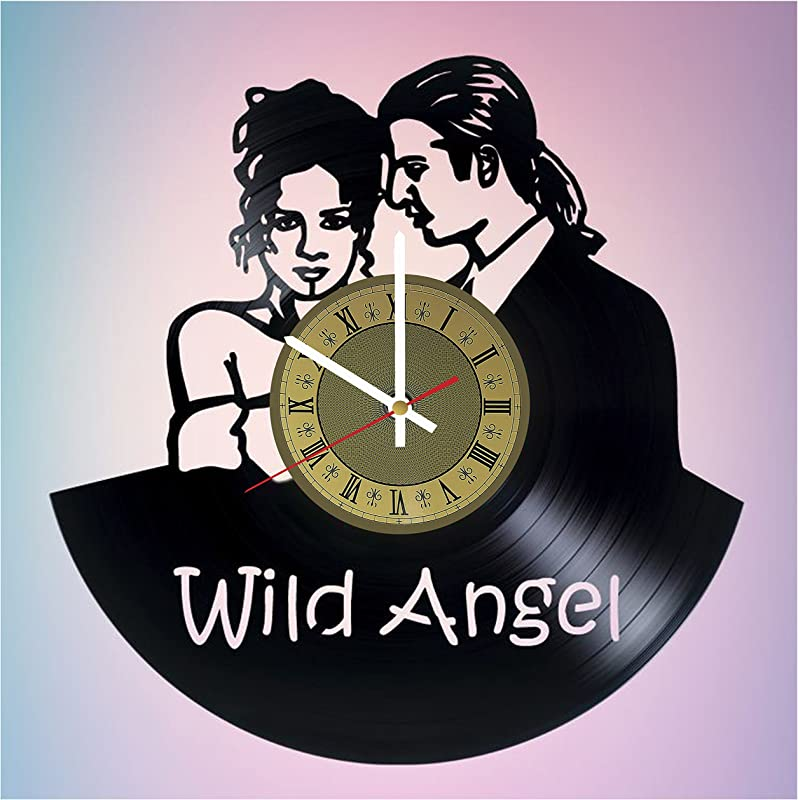 Pieceful The Wild Angels Vinyl Record Wall Clock Artwork Gift Idea For Birthday Christmas Women Men Friends Girlfriend Boyfriend And Teens Living Kids Room Nursery Gold White