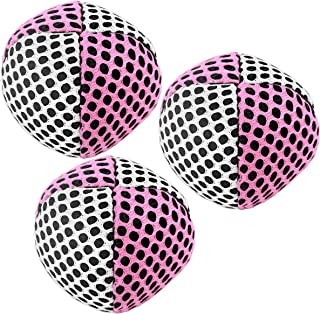 Speevers Xballs Juggling Balls Professional Set of 3 Fresh Design - 10 Beautiful Colors Available - 2 Layers of Net Carry Case - Choice of The World Champions (White - Pink, 90g)