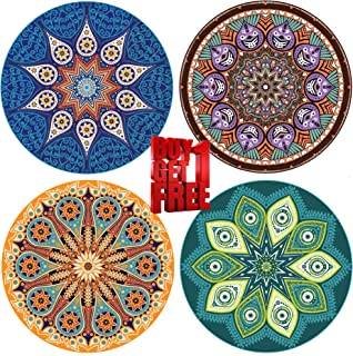 """ENKORE Absorbent Coaster For Drinks - 4 Pack Large 4.3"""" Size Ceramic Stone With Cork Back - TODAY BUY 1 GET AN EXTRA FREE, YOU GET 8 COASTERS IN THE SET,No Holder - Mandala Design Style Up Home Decor"""
