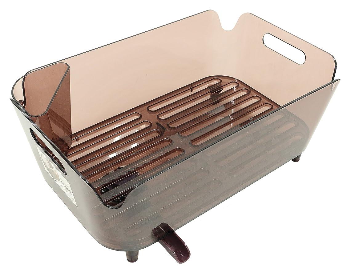 足先史時代のバイオレットパール金属 日本製 食器 水切り かご 水切り ポケット 付 ブラウン アクリア HB-3489