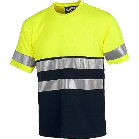 WorkTeam Camiseta Manga Corta de trabajo, alta visibilidad y cintas reflectantes