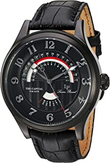 Lucien Piccard Men's 'The Capital' Quartz Stainless Steel and Leather Casual Watch, Color:Black (Model: LP-40050-BB-01)