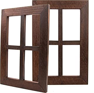 """Daisy's House Distressed Window Frame Wall Decor – Set of 2 Rustic Window Panes with Hanging Hardware for Bedroom Living Room Bathroom Barnwood Home Decor (15.75"""" x 11"""" x 1"""" Each)"""