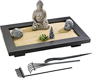 ZANTRA Premium Zen Garden for Desk 12 x 8 inch, Office and Home Decor, Wooden Sand Tray, Buddha, Lotus, Rock Features, Pag...